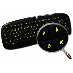 Glowing fluorescent Norwegian keyboard sticker