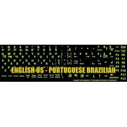 Glowing fluorescent Portuguese Brazilian - English keyboard sticker