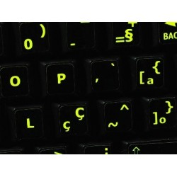 Glowing fluorescent Portuguese Brazilian keyboard sticker