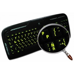 Glowing fluorescent Spanish (LA) English keyboard sticker