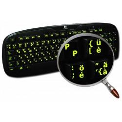 Glowing fluorescent Swiss English keyboard sticker