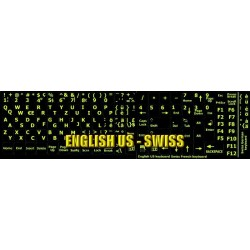 Glowing fluorescent Swiss English keyboard sticker