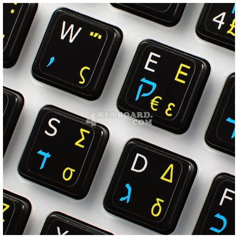 Hebrew-Greek-English non transparent keyboard  stickers