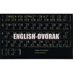 Dvorak English non-transparent keyboard  stickers 11x13