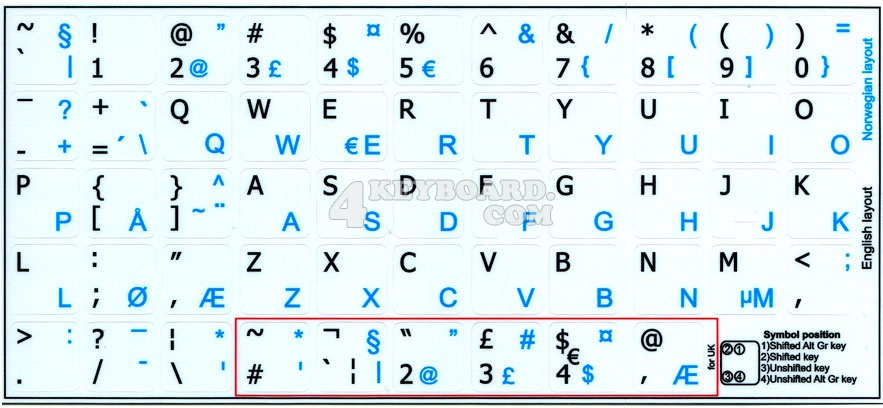 Norwegian - English non-transparent keyboard stickers 15x15