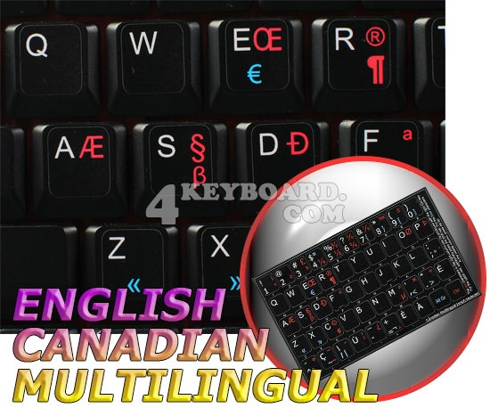 English-Canadian multilingual non-transparent keyboard sticker