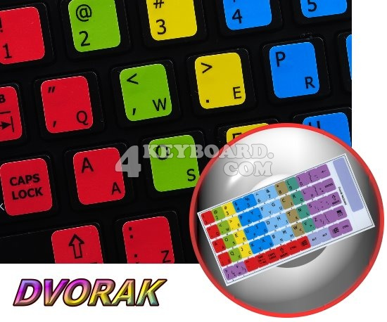 Learning Dvorak keyboard sticker