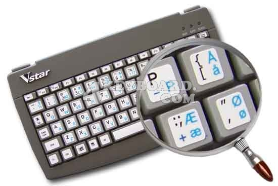 Danish - English Netbook keyboard stickers