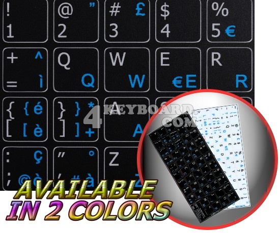 Italian - English non-transparent keyboard stickers 14x14