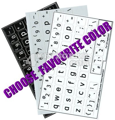 Click to enlarge English US LARGE LETTERING keyboard stickers