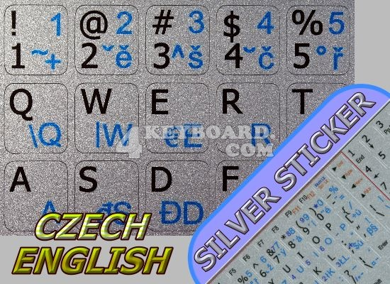 Czech - English stickers for Notebook silver background