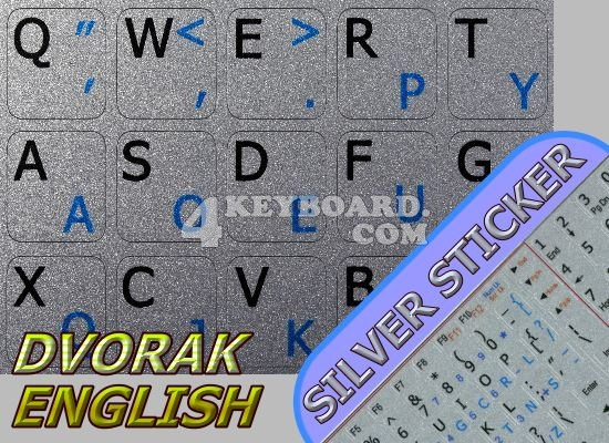 Dvorak-English stickers for Notebook silver background