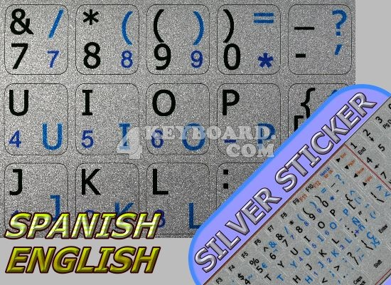 Spanish-English stickers for Notebook silver background