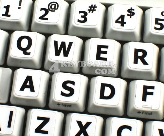 English LARGE LETTERING Keyboard Stickers (Upper case)