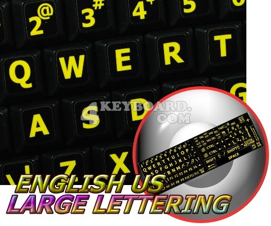 English US YELLOW LARGE LETTERING Stickers (black background)