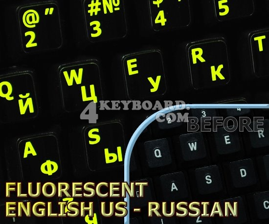 Glowing fluorescent Russian English US keyboard sticker