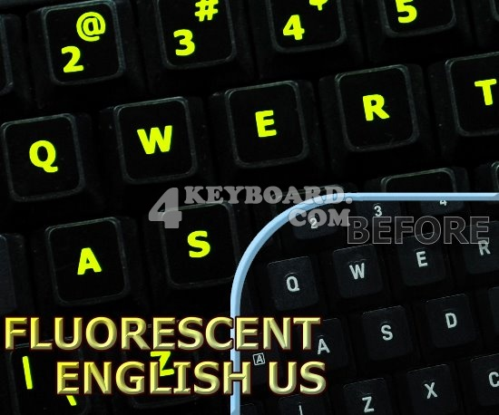 Glowing fluorescent English US keyboard stickers