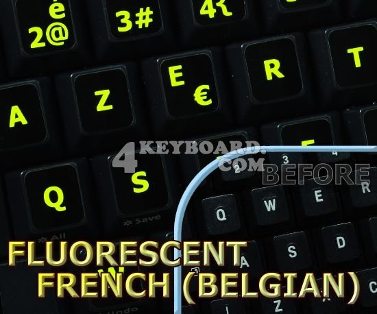 Glowing fluorescent French Belgian keyboard stickers