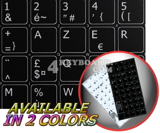 French AZERTY non-transparent keyboard stickers 14x14