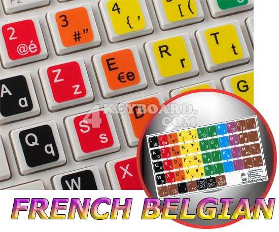 Learning French Belgian Colored keyboard stickers