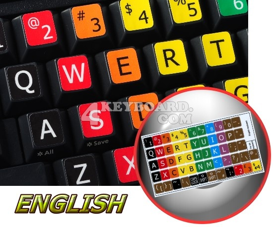 Learning Large Lettering English Colored keyboard stickers
