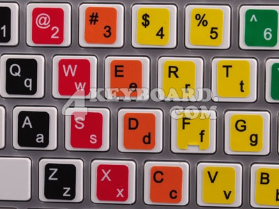 Learning US colored PC keyboard stickers