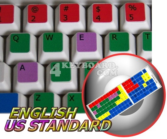 Learning English US colored PC keyboard stickers