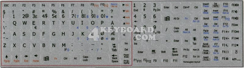 Norwegian keyboard stickers for Notebook silver background