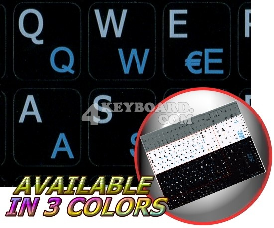 French QWERTY-English Notebook keyboard stickers