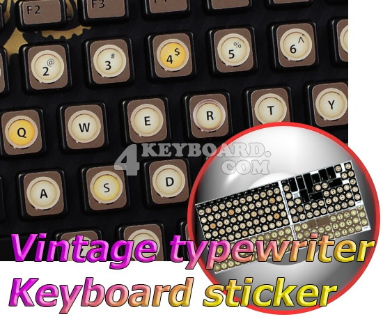 Vintage Typewriter English US non-transparent keyboard stickers